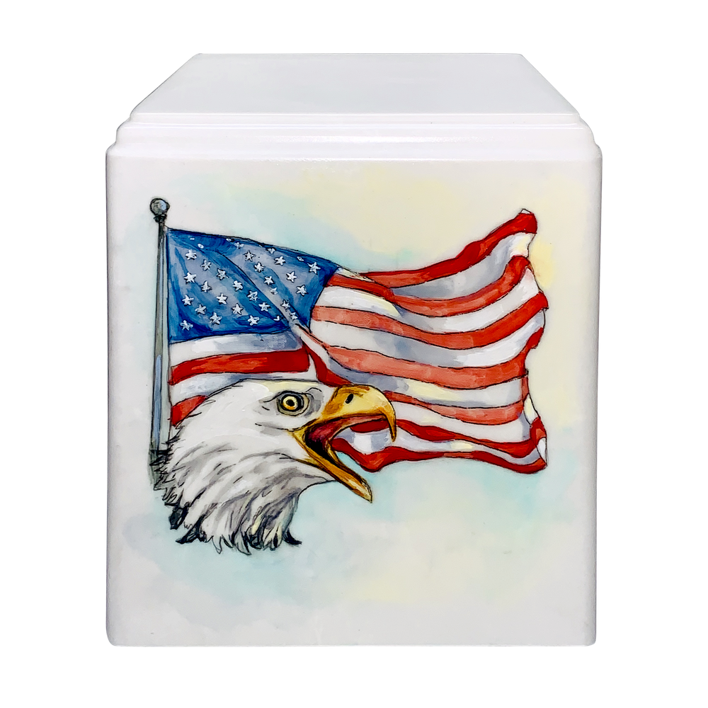 Flag with Eagle Hand Painted Memorial